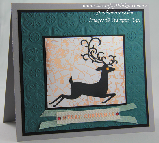 #thecraftythinker #stampinup #detaileddeer #christmascard #mercuryglassacetate #cardmaking , Detailed Deer, Christmas Card, Mercury Glass Designer Acetate, Tin Tile, Stampin' Up Demonstrator, Stephanie Fischer, Sydney NSW