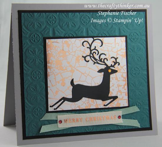 #thecraftythinker #stampinup #detaileddeer #christmascard #mercuryglassacetate #cardmaking , Detailed Deer, Christmas Card, Mercury Glass Designer Acetate, Tin Tile, Stampin' Up Demonstrator, Stephanie Fischer, Sydney NSW