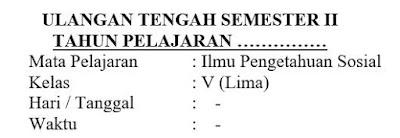 Soal UTS IPS Kelas 5 Semester 2