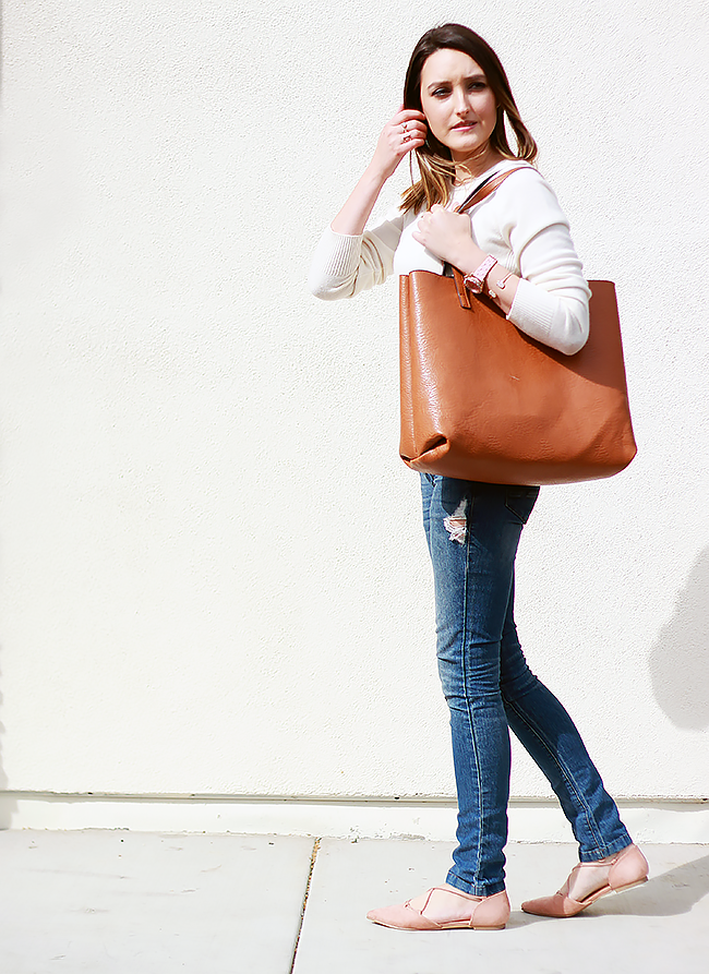 Spring sweater and blush lace up flats | A Good Hue