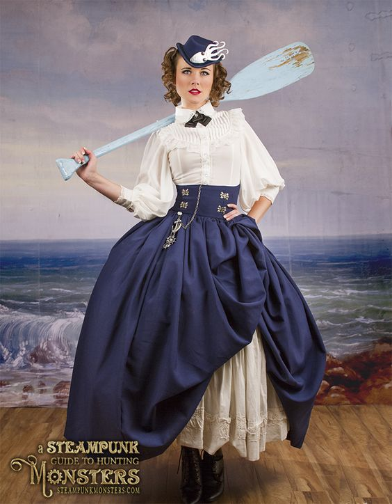 woman in nautical steampunk skirt and blouse; sailing costume