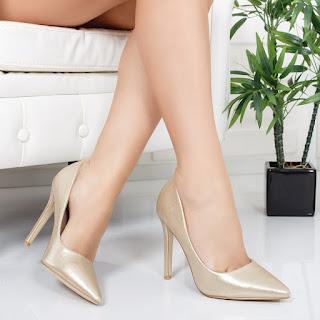 Pantofi Isabelle aurii mat cu toc inalt ieftini