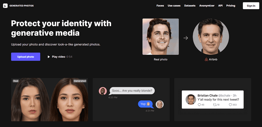 Generated Photos 人物肖像圖庫