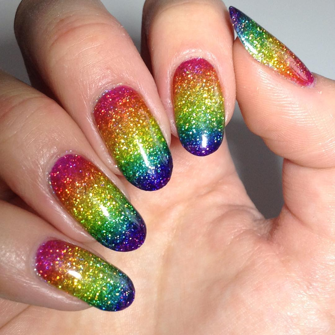 Hope you loved all these beautiful glittery rainbow nail art ideas and will  try that tutorial! - Rock The Rainbow Glitter Nail Art: DIY Tutorial