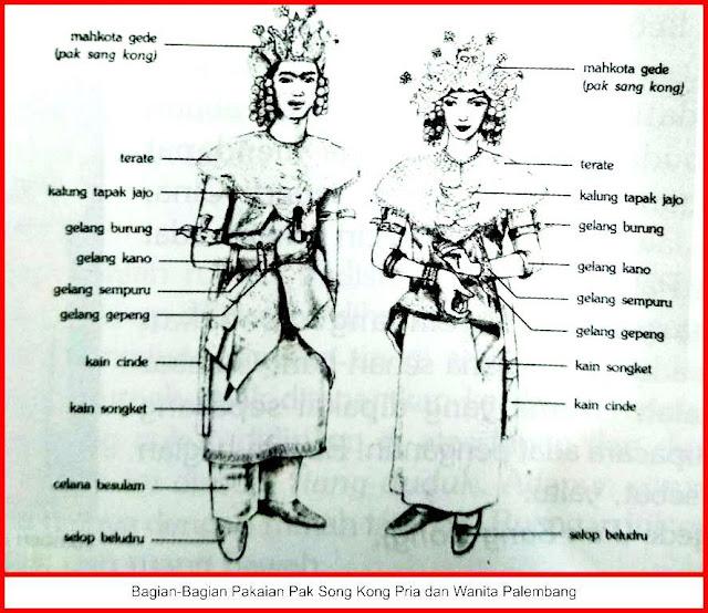 gambar bagian-bagian pakaian adat palembang sumatera selatan