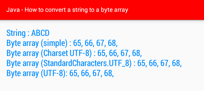 android java - How to convert a string to a byte array