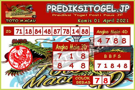 Prediksi Togel Toto Macau JP Kamis 01 April 2021