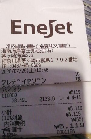 ENEOS EneJet 茅ヶ崎海岸SS 2020/7/25 のレシート