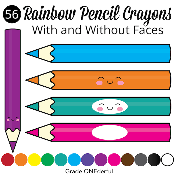 Pencil Crayon Clip Art in 5 styles and ALL the Colours!