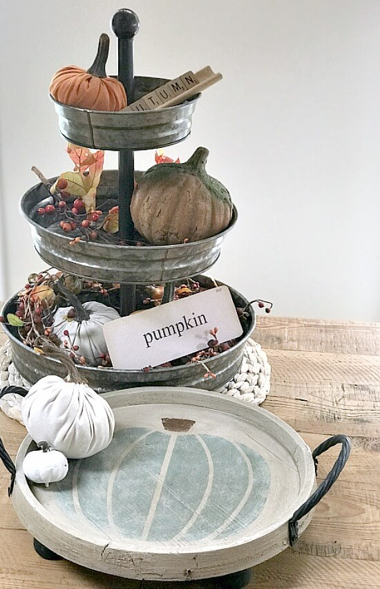 Fall tiered tray and round white stenciled teal pumpkin