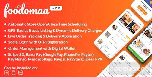 سكريبت ورد بريس Foodomaa–Multi-restaurant-Food Ordering+Restaurant Native App