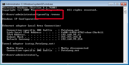CMD Ipconfig Renew