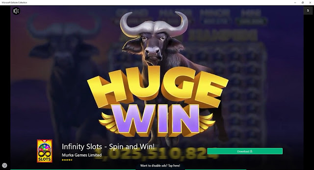 Microsoft Solitaire Collection commercial advertisements infinity slots spin and win