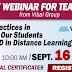 SEPT. 16 (10 AM) Free Webinar for Teachers from VIBAL