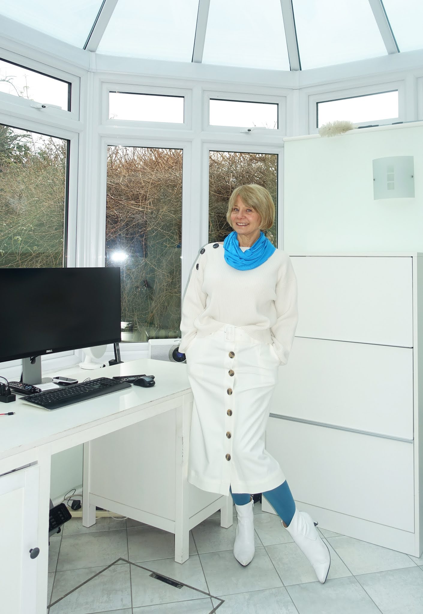 Styling winter white with Chinese blue:  over 50s blogger Gail Hanlon from Is This Mutton?