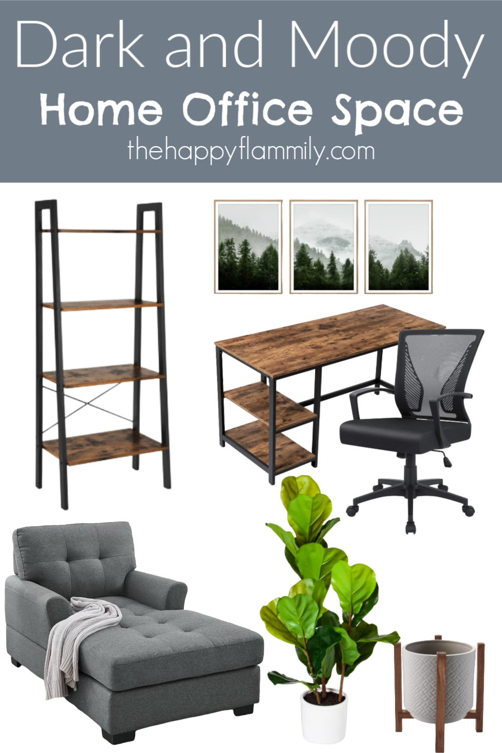 Dark home office ideas. Black office walls. Black office furniture. Industrial modern home office. Black office desk. Dark and moody home office inspiration. Sherwin Williams navy home office. #homedecor #darkandmoody #dark #sherwinwilliams #industrialmodern #modern #modernfurniture