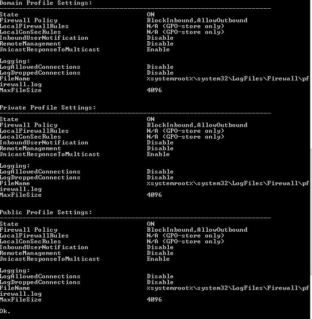 netsh advfirewall show allprofiles