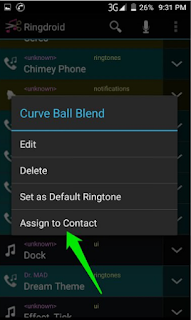 Assign to contact on Android device