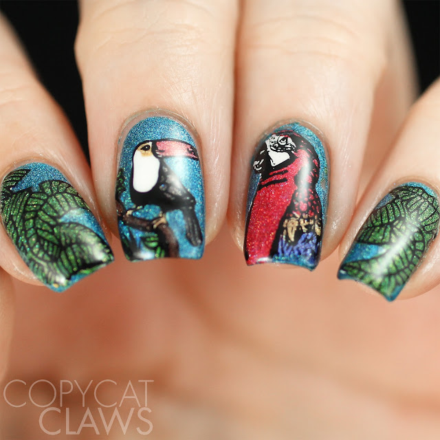 Tropical Bird Nail Stamping