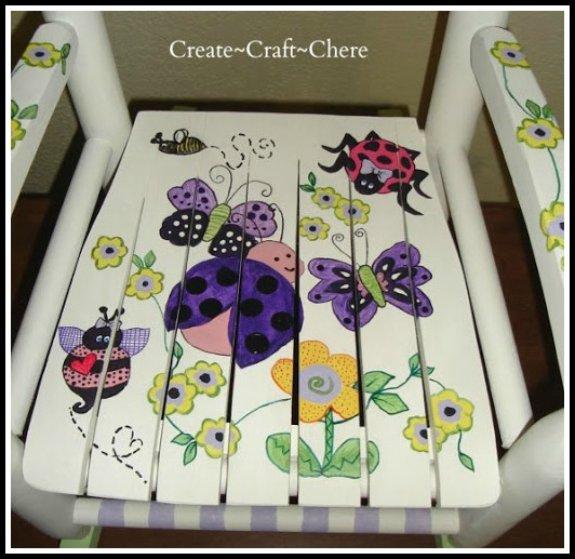 Child's Rocking Chair Purple Ladybug Theme