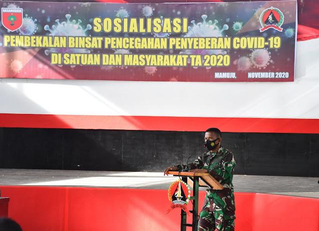 Korem 142/Tatag Melaksanakan Sosialisasi Pembekalan Binsat dan Pencegahan Penyebaran Covid 19