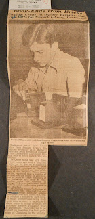 Newark News article from October 4, 1946, about students making the bookends