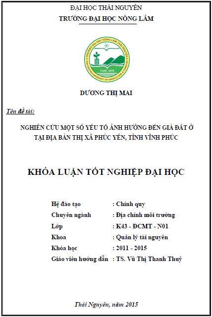 Nghiên cứu một số yếu tố ảnh hưởng đến giá đất ở tại địa bàn thị xã Phúc Yên tỉnh Vĩnh Phúc