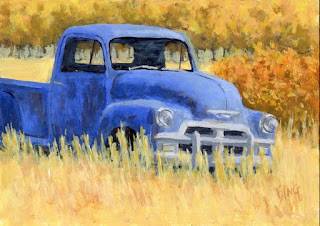 art painting abandoned truck Chevy autumn landscape