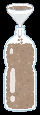 ろうととペットボトルのイラスト(砂)