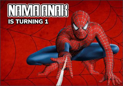 Contoh Banner Ulang Tahun Spiderman