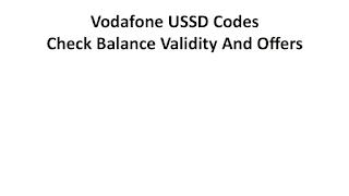 Ussd code Vodafone