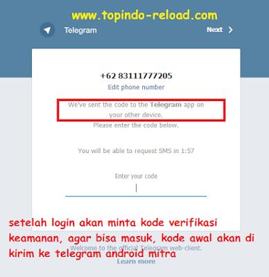 minta kode verifikasi telegram