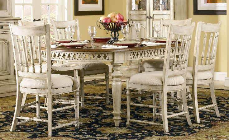 Distressed White Dining Room Table