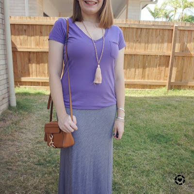 awayfromblue Instagram | summer lilac tee striped maxi skirt and camera bag outfit for church shopping