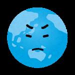 地球のイラスト(怒った顔)