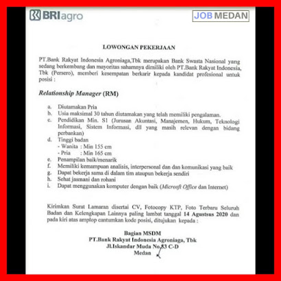 Relationship Manager di PT Bank Rakyat Indonesia Agroniaga Tbk