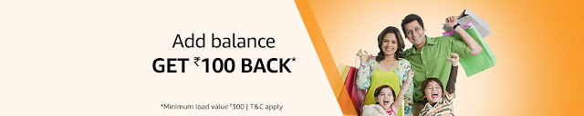 Amazon Pay Add Balance Rs. 100 Cashback on Rs. 300