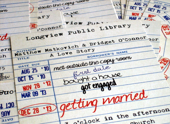 library cards for wedding: Wedding Save The Date Card Idea: Library Cards | DIY Playbook