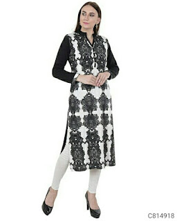 Winter Special Woolen Printed Full Sleeves Chinese Collar Straight Kurtis