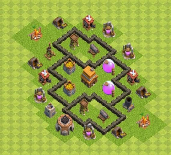 Base COC TH4 Trophy 4