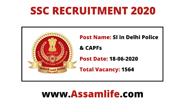 SSC RECRUITMENT 2020: SI and CAPF's Posts | Apply Online