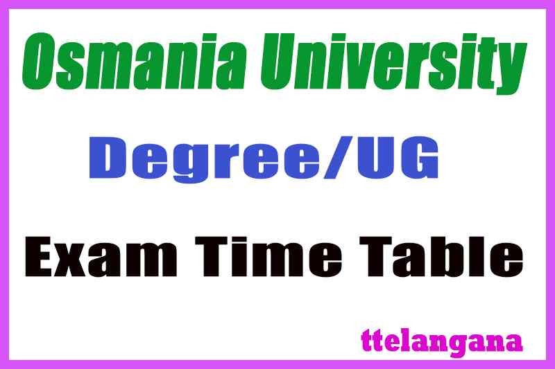 OU Degree Time Table 2019 BA BSc BCom Exam Time Table