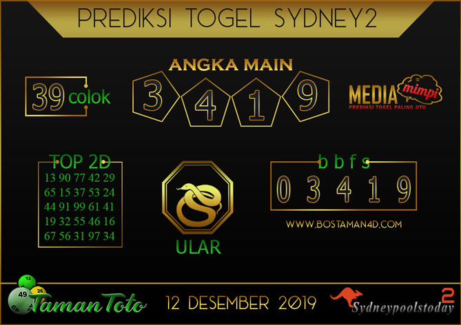 Prediksi Togel SYDNEY 2 TAMAN TOTO 12 DESEMBER 2019