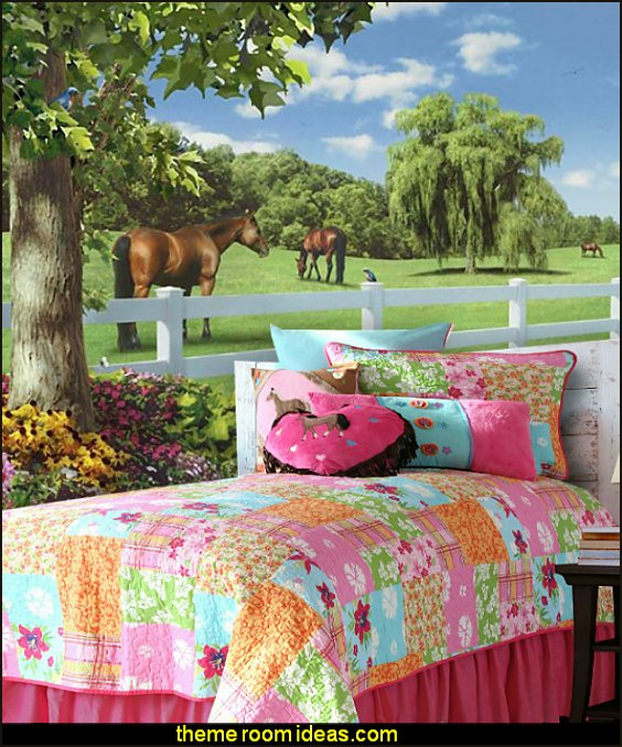 Cowgirl Quilt Bedding horse wall murals horse theme bedrooms
