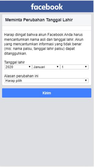 Mengubah tanggal lahir facebook yang sudah limit