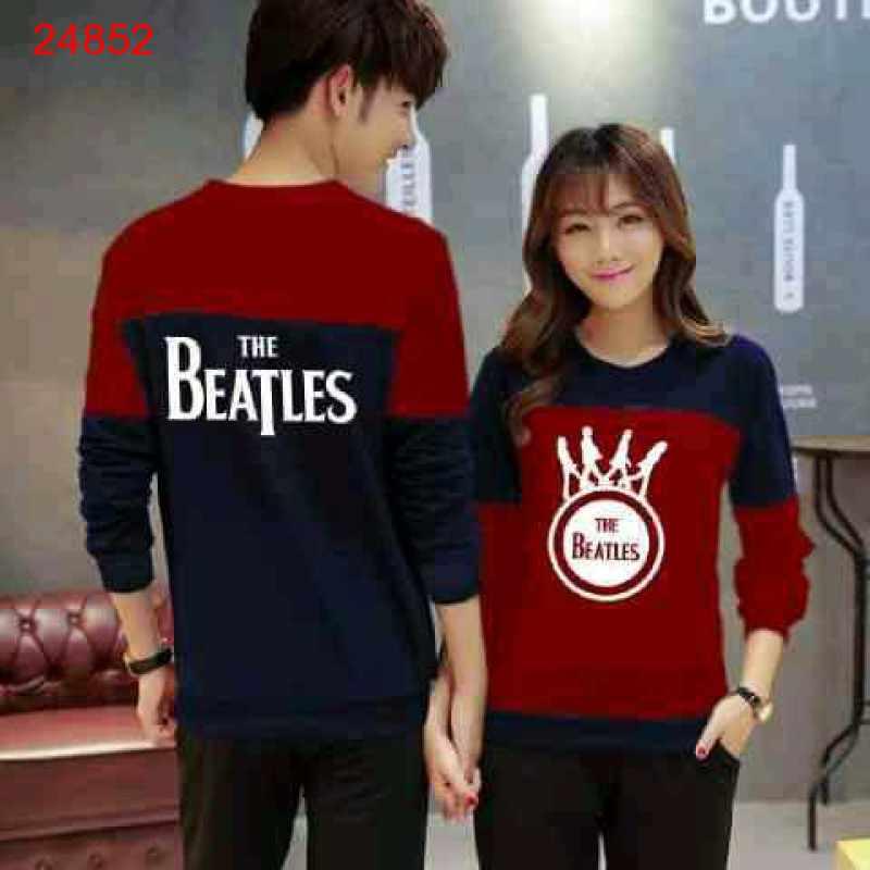 Jual Sweater Couple Sweater Beatles Cross Navy Maroon - 24852