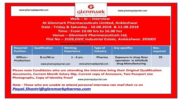 Glenmark Pharmaceuticals Ltd  Walk In Interview For Multiple Positions at 10  & 11 August