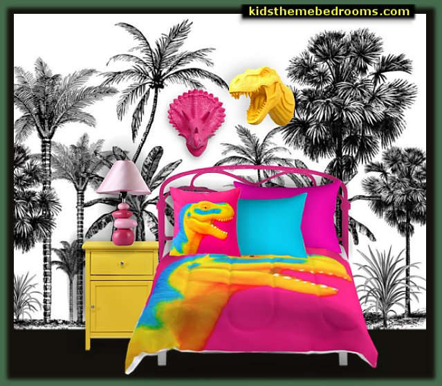 dinosaurs in color fun and funky - cute and colorful  -  chic and trendy decorating ideas - unique decor - girls bedroom decor - colorful decor  - decorating with color - color inspiration decorating ideas - colorful bedrooms - colorful furniture - colorful bedding -