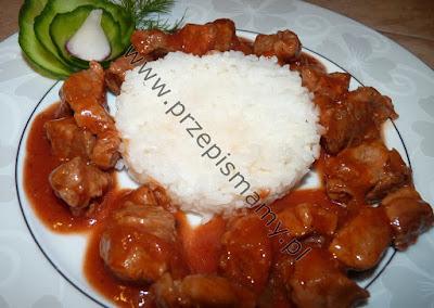Gulasz wieprzowy z ryżem