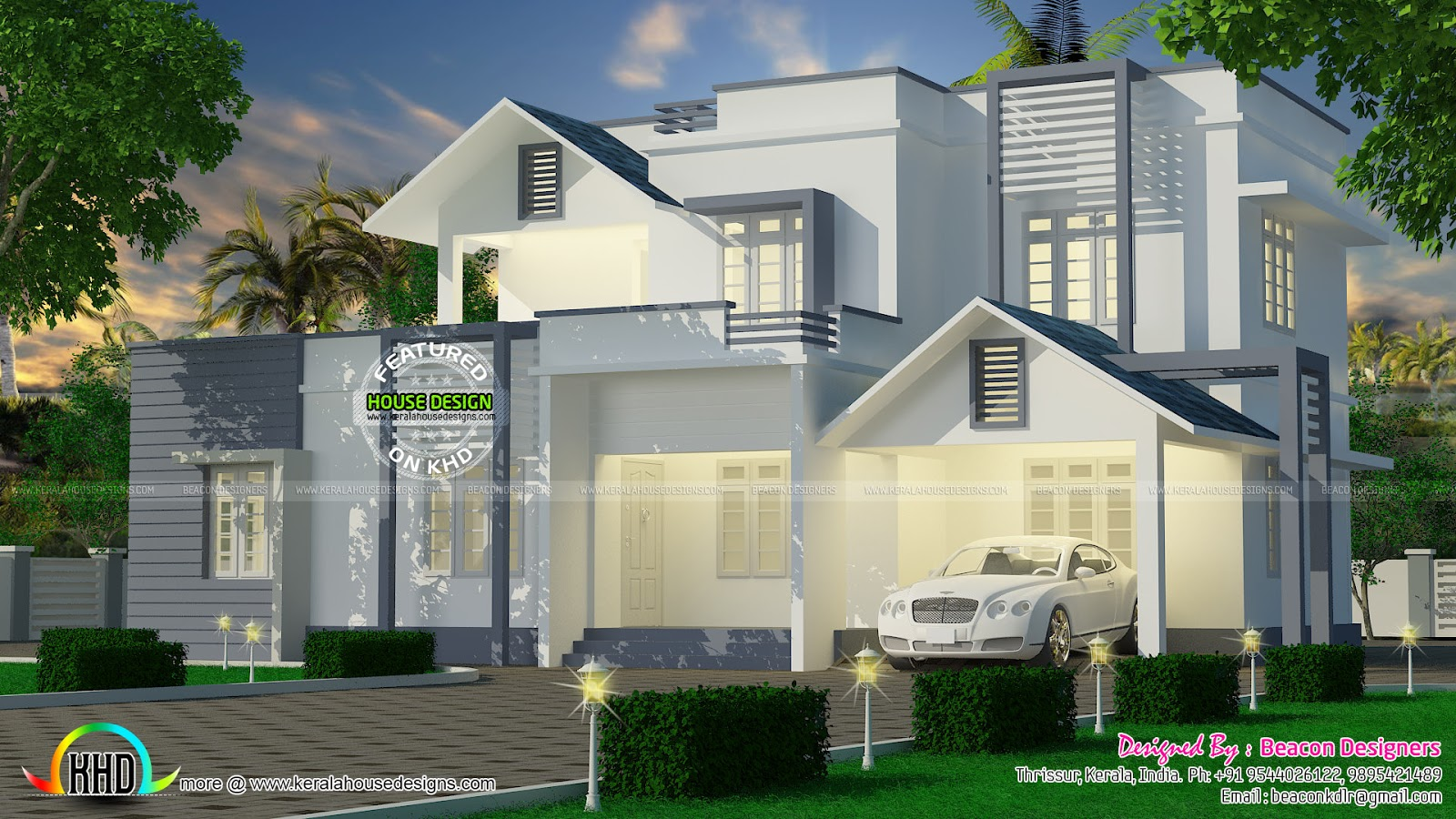 white and grey house design kerala home design and floor plans. Black Bedroom Furniture Sets. Home Design Ideas